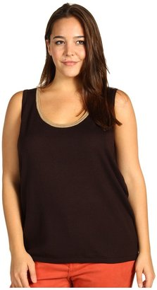 Klein Plus Anne Plus Size Tank Top w/ Contrast Trim (Chocolate/Cappuccino) - Apparel