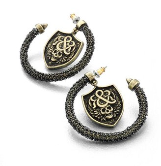 Rock & Republic gold tone skull shield c-hoop earrings