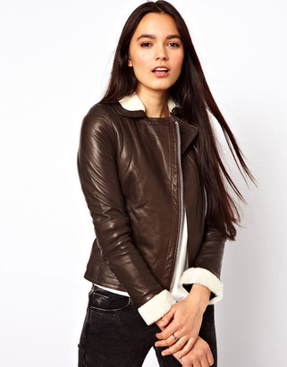 Doma Biker Jacket with Shearling Trim