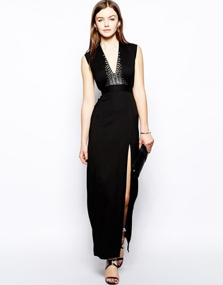 French Connection Milo Stretch Crepe Maxi Dress