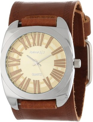 Nemesis Women's BHST098Y Brown Collection Retro Roman Leather Band Watch