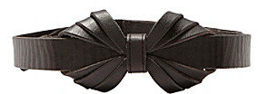 Fossil Black Leather Bow Belt