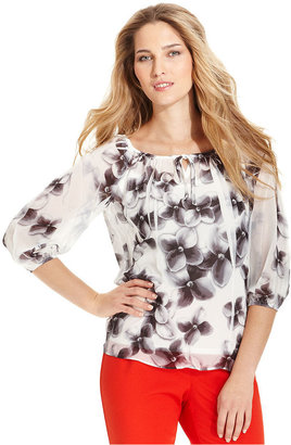 Amy Byer Top, Three-Quarter-Sleeve Floral-Print Peasant
