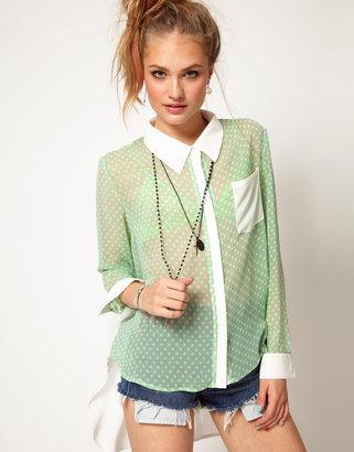 MinkPink Sweetshop Shirt in Polka Dot