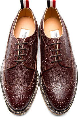 Thom Browne Brown Pebbled Leather Longwing Brogues