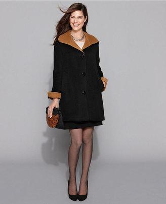 Ellen Tracy Coat, Wool-Angora-Blend Colorblock Swing