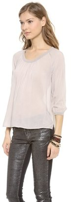 James Perse Shirred Jewel Neck Top