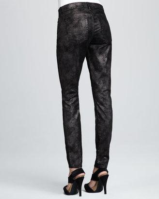 7 For All Mankind Skinny Moon Metal Black Velvet Jeans