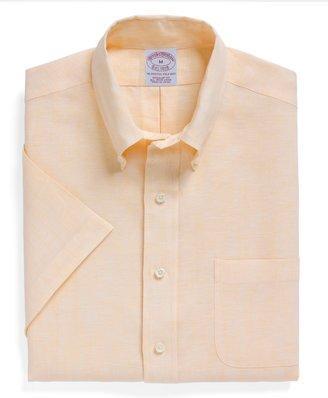 Brooks Brothers Regular Fit Irish Linen Short Sleeve Sport Shirt