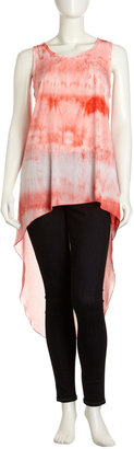 Romeo & Juliet Couture Tie-Dye Hi-Lo Tank Top, Coral