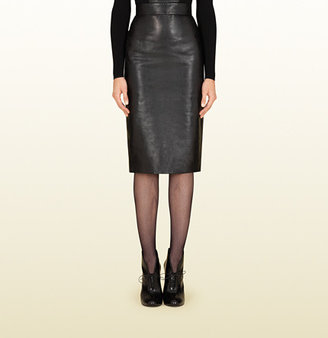 Gucci Black Leather Pencil Skirt