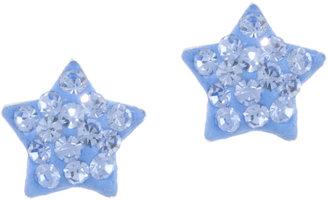 JCPenney Bridge Jewelry Blue Crystal Star Stud Earrings Sterling Silver