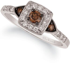 LeVian Chocolate by Petite Le Vian Chocolate and White Diamond Ring (3/8 ct. t.w.) in 14k Rose, Yellow or White Gold