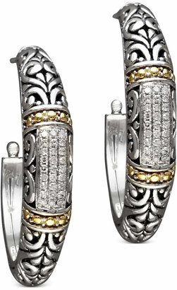 Effy Balissima by Diamond Hoop Earrings (1/4 ct. t.w.) in 18k Gold and Sterling Silver