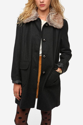 Urban Outfitters Pins and Needles Faux Fur Collar Wool Coat