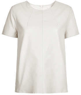 Topshop Off White Leather T-Shirt