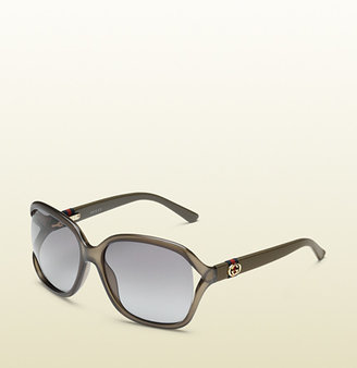 Gucci Icon Shape Transparent Olive Green Sunglasses