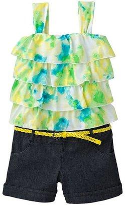 My Michelle tie-dye belted denim romper - girls 7-16