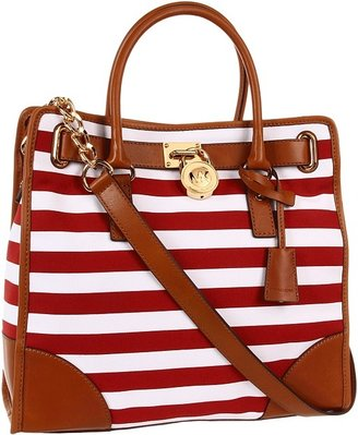 MICHAEL Michael Kors Hamilton Canvas Large NS Tote - Striped Canvas (Red/White) - Bags and Luggage