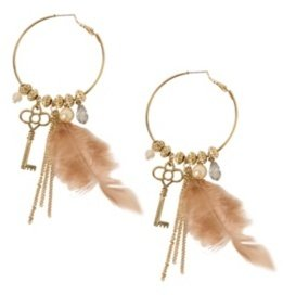 Gold Beaded Key Feather Hoop Earring