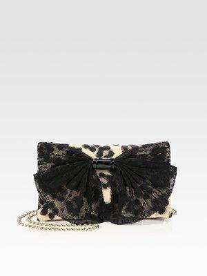 RED Valentino Leopard Nylon & Lace Bow Clutch