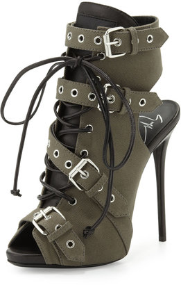 Giuseppe Zanotti Military Buckled Lace-Up Boot, Militaire