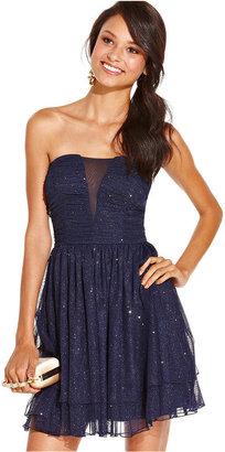 Speechless Juniors Dress, Strapless Glittered A-Line