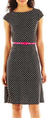 JCPenney Nine & Co 9 & Co. Belted Striped Dress