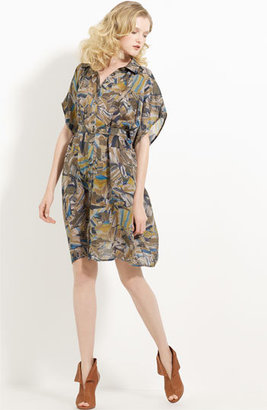 Ports 1961 Mosaic Print Belted Silk Dress