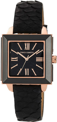 Vince Camuto Watch, Women's Black Python Leather Strap 32mm VC-5020RGBK