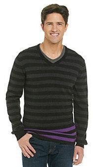 Calvin Klein Jeans Men's Striped Crewneck Sweater with Color Pop