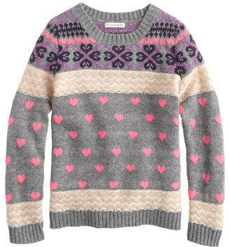 J.Crew Girls' heart Fair Isle sweater