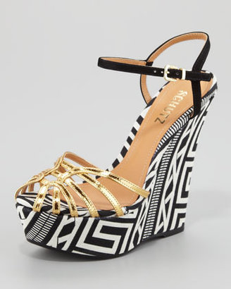 Schutz Gil Strappy Wedge Sandal, Gold
