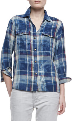 Current/Elliott The Perfect Shirt Faded Repaired Long-Sleeve Shirt