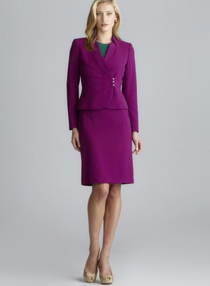 Tahari Fuchsia Notched Lapel Button Side Skirt Suit