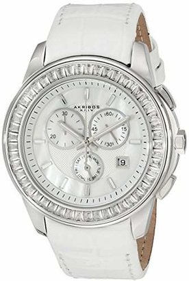 Akribos XXIV Women's AK621SSW Lady Diamond Swiss Quartz Crystal Mother-of-Pearl Silver-tone Stainless Steel White Leather Strap Watch
