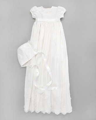 Joan Calabrese Silk Christening Gown & Embroidered Bonnet