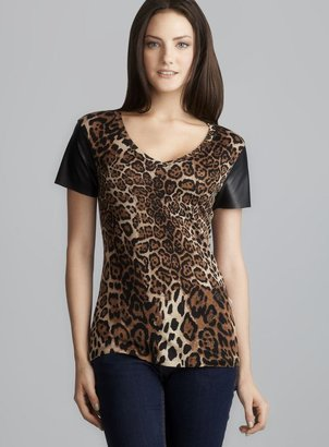 Casual Couture Animal Print Faux Leather Sleeve Top