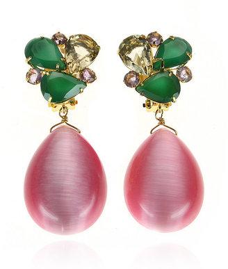 Bounkit Green Onyx & Pink Cat's Eye Earrings