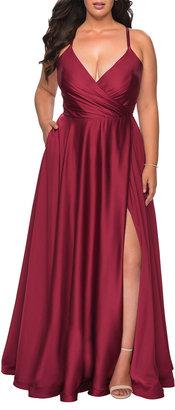 La Femme Plus Size Satin A-Line Gown with Lace-Up Back