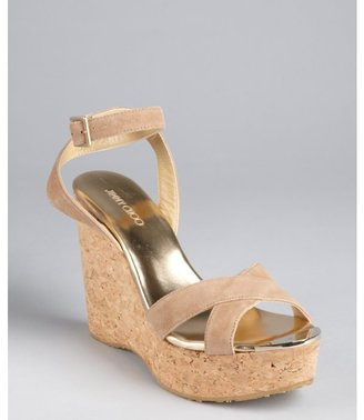 Jimmy Choo nude suede crisscross strapped 'Papyrus' cork wedges