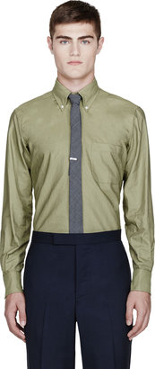 Thom Browne Olive Green Loden Solid Oxford Shirt
