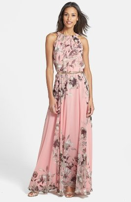 Women's Eliza J Belted Chiffon Maxi Dress $158 thestylecure.com