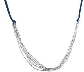 Other Designers Blue Crochet and Silver Link Chain