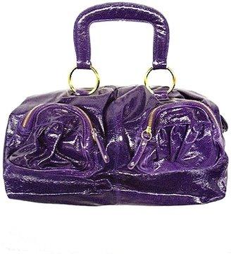 Bulga Purple Patent Leather 2 Front Pocket Bag