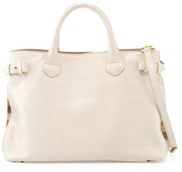 Burberry Leather Check-Side Satchel Bag, White