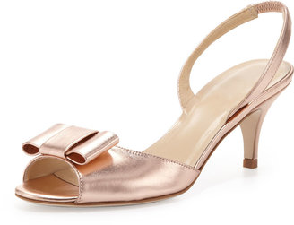 Kate Spade Emelia Metallic Peep-Toe Bow Slingback, Rose Gold