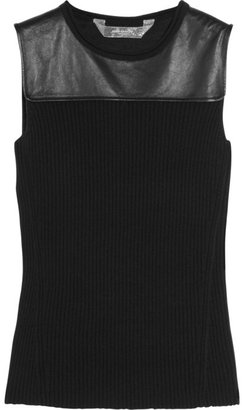 Reed Krakoff Leather-paneled knitted top