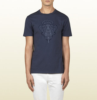 Gucci Blue Cotton Jersey T-Shirt With Crest Print