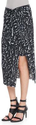 Helmut Lang Strata-Print Asymmetric Wrap Midi Skirt